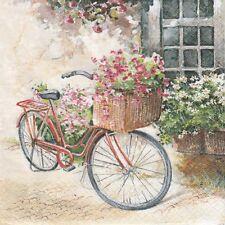 2 Serviettes en papier Paysage Vélo fleuri Decoupage Paper Napkins Flower Bike