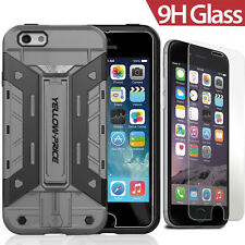 iPhone 6 6S 4.7 Hybrid Rugged Rubber Protective Hard Cover Case Shell+Glass Film