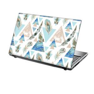 "TaylorHe 13-14"" Laptop Chromebook Vinyl Skin Sticker Decal Blue Feathers Flowers"