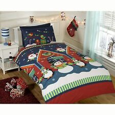 SANTA'S GROTTO DOUBLE DUVET COVER FATHER CHRISTMAS XMAS BEDDING SET