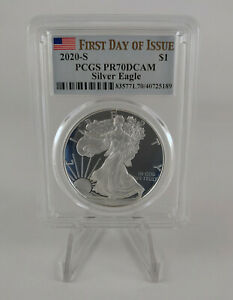 2020-S 1 oz American Silver Eagle PCGS PR70 DCAM First Day of Issue