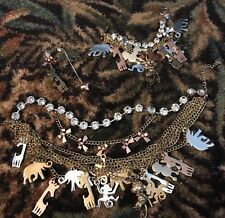 Betsey Johnson Rare Zoo Lovers Elephant Giraffe Poodle Ear/bracelet Necklace Set