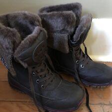 Pajar Alice - Waterproof Brown Leather/Wool Calf-High Pile-Lined Winter Boot