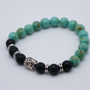 Howlite Bracelet Black Agate Bead Buddha Men Women Crystal Chakra Reiki Heal UK