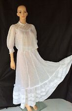 ANTIQUE VINTAGE EDWARDIAN COTTON- LACE 1900 LAWN DRESS Blouse And Skirt 2 Piece