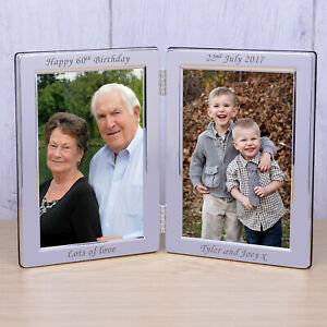 Add Your Own Any Message Silverplated Double Photo Frame 6x4 - Personalised