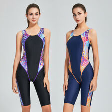 Training Competition One Piece Swimsuit Women Knee Length Sport Bathing Suit 473