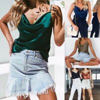 NEW Women's V Neck Summer T-Shirt Camisole Vest Blouse Loose Strappy Cami Tops