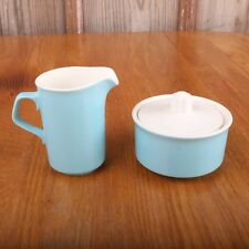 AVON Vintage Bath Set Blue Marbleized Glass Pitcher Bowl Soap Dish