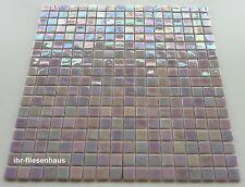 Glasmosaik - Mosaik Matte auf Netz Rosa-glänzend 29,5x29,5cm; Stein 1,5x1,5cm
