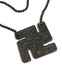 ~MEN'S VINTAGE NEOLITHIC CROSSSWAST. PENDANT/NECKLACE, BLACK ONYX COLOUR BEADS