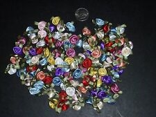 100 Satin Ribbon Rose Flower 16mm Applique Trim Sewing Bow Craft Mix Multi Color