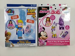 Disney Toys Mold N Play 3D Figure Maker Minnie, Toy Story  Lot Of 2
