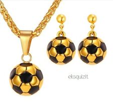 FOOTBALL PENDANT NECKLACE & EARRINGS SET 24k GOLD PLATED
