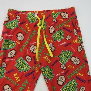 Matthew Berry Fantasy Life Pajama Pants Men's Size M Red Football Draft Bald