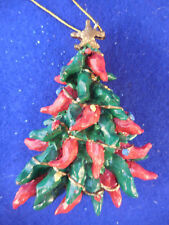 """Chili pepper Christmas tree, red and green, resin,  3 1/2"""""""