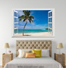 3D Palm Tree Sky Beach 115 Open Windows WallPaper Murals Wall Print AJ Carly