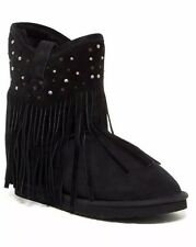 Koolaburra Haley Ankle Starlight Black Fringe Moccasin Slipper Boho Boot Sz 6