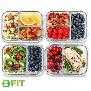 Glass Meal Prep Food Storage Containers (2 & 3 Compartments) 4 Pack, 32 Ounces