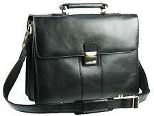 Visconti Large Luxury Genuine Leather Briefcase Shoulder Bag - Black ( 01775 )