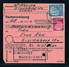 89432) Postanweisung Heuss, MiF Wetzlar Land - Bissenberg (PST II-Ra2) ü.Wetzlar