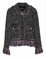 "Stunning ""Sold Out"" Blogger Zara Purple Tweed Fringed Jacket ~ MED ~£79~ Worn 1C"