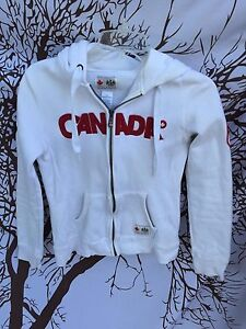 Women Hudson's Bay  Team Canada 2010 Vancouver Olympics white Hoodie SZ SMALL S