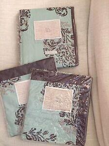 Soft Aqua Brown Feather Scroll ANTHROPOLOGIE Queen Bed Skirt + 2 Euro Shams NIP