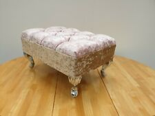 Foot Rest Pouffe Stool QueenAnne Legs British Made with pink/golden champagne