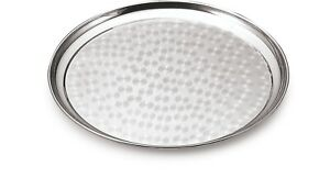 Stainless Steel Round Serving Table Tray Platter Dish Food Fruit Puja Thaali