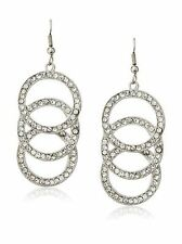Kenneth Jay Lane Sparkling Crystal Triple Circle Drop Dangle Hook Earrings NWT