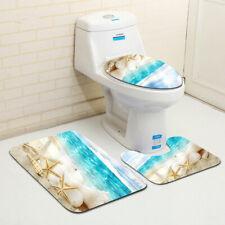 3pcs Tapis de Bain Antidérapant Housse Couvercle WC Toilettes Salle de Bain