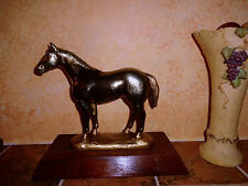 """VINTAGE  BRASS HORSE STATUE HEAVY AMERICAN QUATER RANCH FARM """"SIGNED"""""""