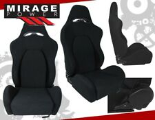2x Universal Reclinable Racing Bucket Seats Automotive Car Jdm Black Cloth Slide Fits Cts V