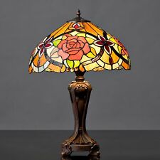 Tiffany Style Red Rose Table Lamp
