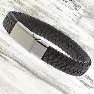 Mens Genuine Flat Leather Brown Braided Wristband Wrap Bracelet Steel Clasp