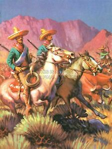 Painting Cowboy Illustration Great Story Wild West Horse Mexican Canvas Print