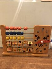 Vintage Wooden Abacus Toy with Clock! Educational, Counting, Collectible Toy
