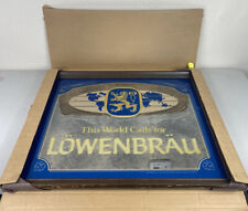 Lowenbrau Beer Wood Framed Beer Mirror Bar Sign 26�x22� New Nos Vintage Rare