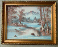Winter Landscape Oil Painting Signed W. Jacob