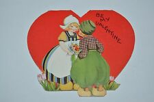 """Cute Vintage 1940s Valentine's 3.5"""" Card Dutch Young Lovers Funny Mixed Language"""