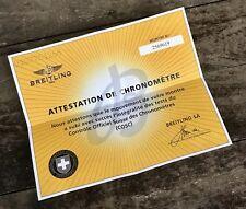 BREITLING certificato COSC 2569619 0107761266 attestazione DE CHRONOMETRE OEM