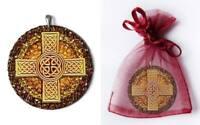 Keltisches Kreuz Anhänger Amber Magic Bernstein Silber Gothic Schmuck NEU