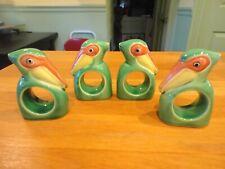 Vintage Ceramic Bird Napkin Rings 4 Green & Yellow Pelicans Fitz & Floyd