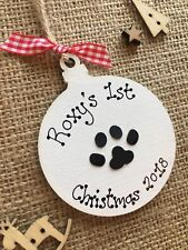 Personalised Dog Cat First Christmas Tree Hanging Decoration Pet Gift