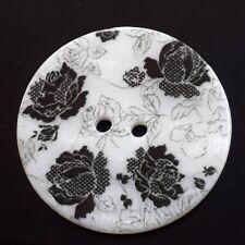 Rose Flower Silver Shank Buttons Plastic 20L 12.5mm BU066-10 Pack