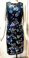 NWT $200 White House Black Market Embroidered Mesh Sheath Dress Black/Blue Jewel
