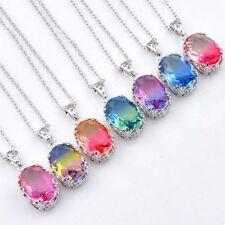 Oval 7 pcs 1 Lot Mystical Rainbow BI-COLORED Tourmaline Silver Necklace Pendants