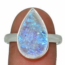 Natural Moonstone Rough - India 925 Sterling Silver Ring Jewelry s.10