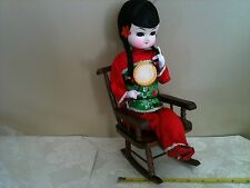 "Vintage Beautiful BRADLEY DOLL on a CHAIR 12.5"" High, with her Nice OUTFIT"